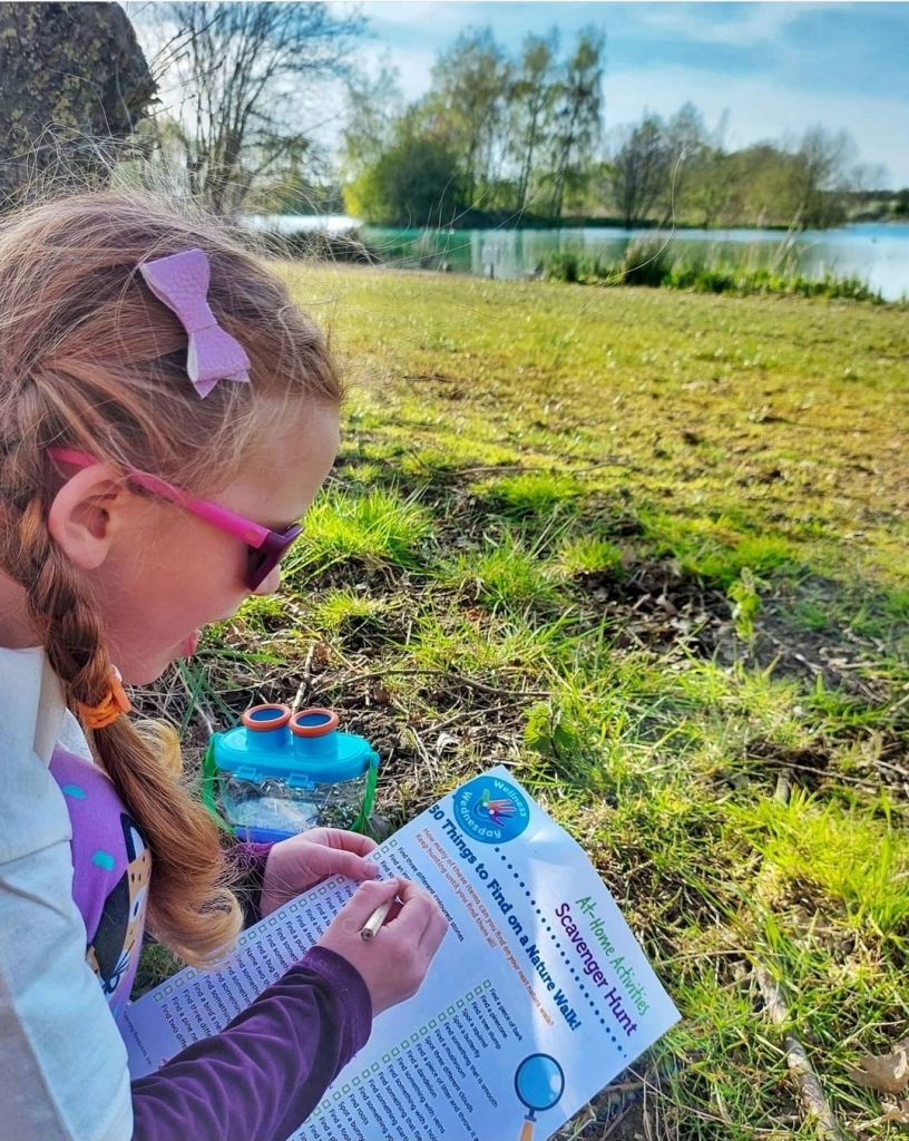 Lily enjoying her Learning Resources UK Scavenger Hunt with her Bugnoculars ready for nature treasures!