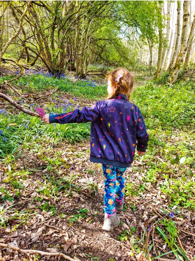 Exploring woodlands with her cards from Catkin & Co