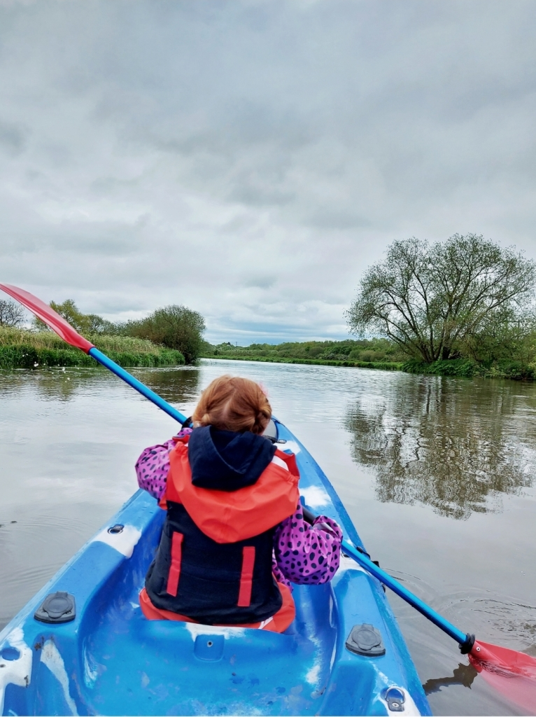 Lily, age 5, kayaking with Let's Get Lost in Leicestershire