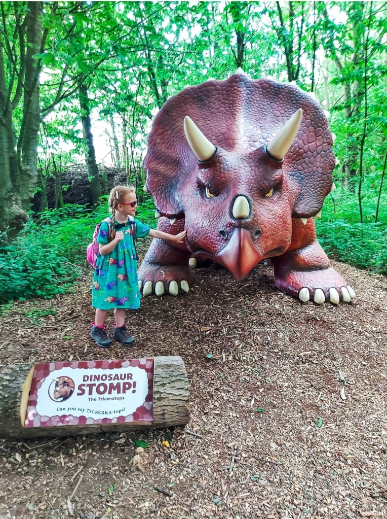 Making friends with a triceratops at Manor Farm Park & Woodlands