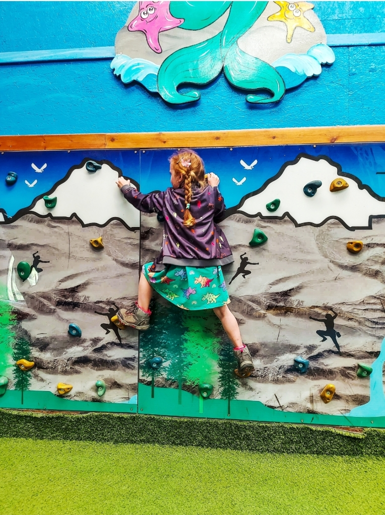 The climbing wall in the indoor play area