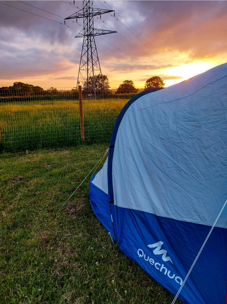 Such a beautiful sunset from our tent at Bluebell Dairy