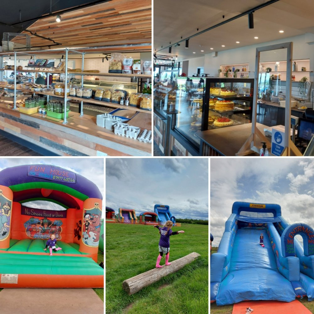 Cake and inflatables at Cattows Farm
