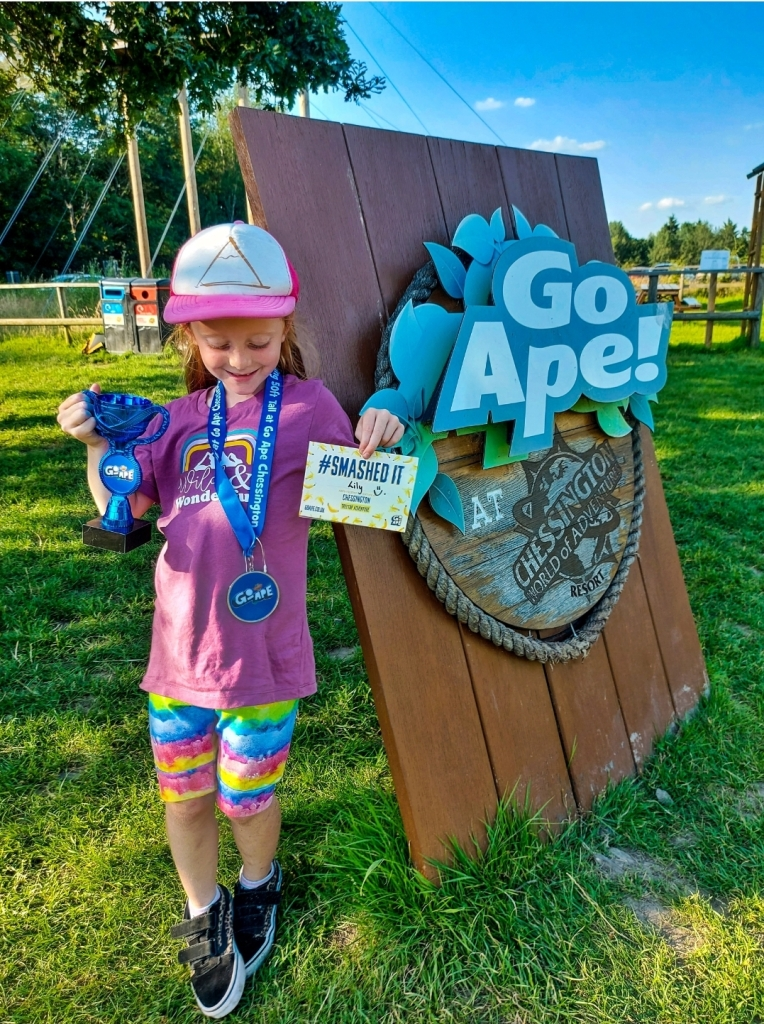 We bought Lily a Go Ape medal and trophy which now have pride of place in her bedroom!