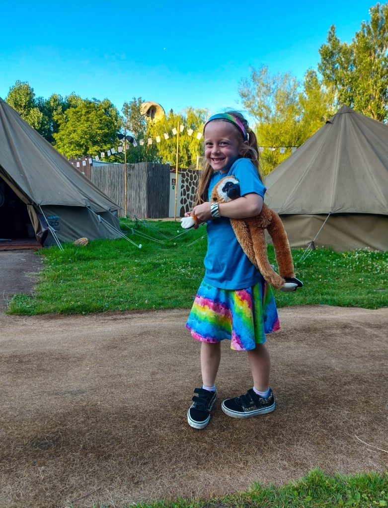 Exploring the Explorer Glamping area - safe for children to run around and have fun