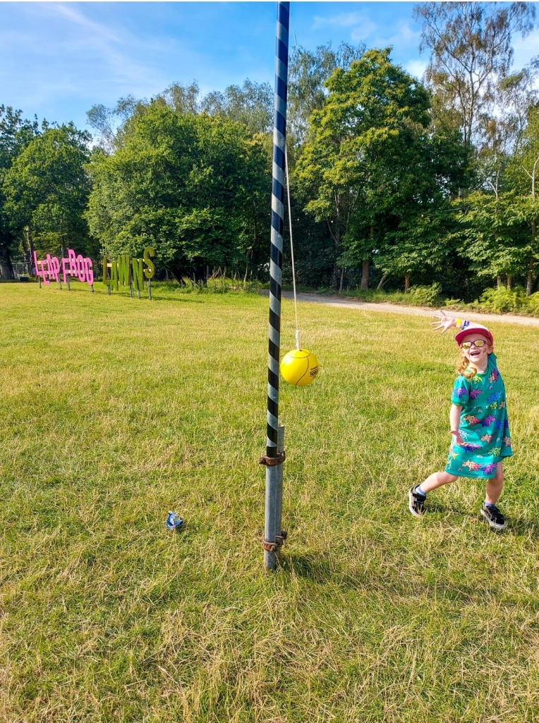 The free giant swingball was a hit with Lily in the Leapfrog Lawns