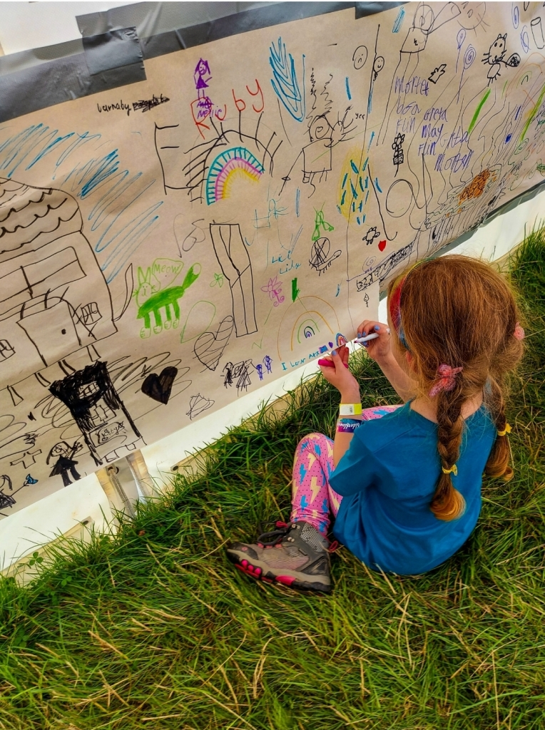 """""""I love art"""" - added to the art camp wall, with a rainbow of course!"""