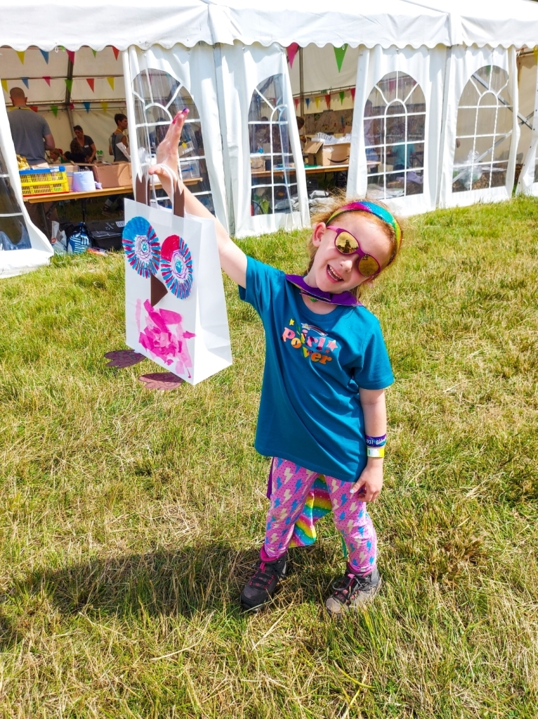 Lily was so proud of her lantern - the free arts camp was great!