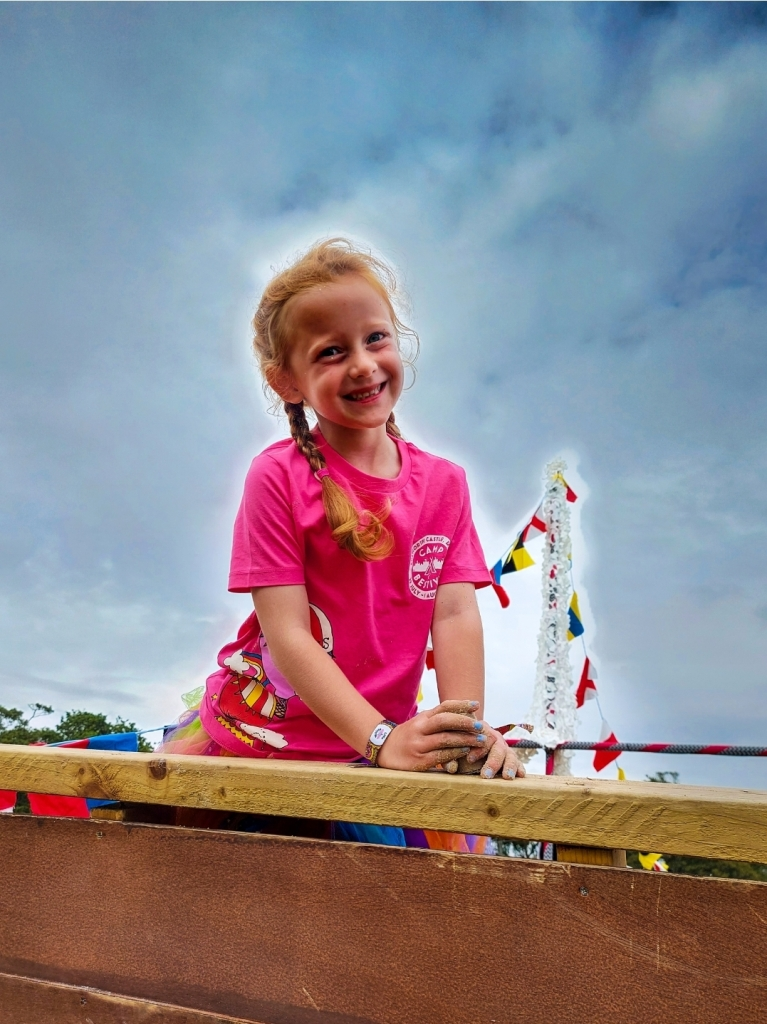 Climbing at the giant sandpit