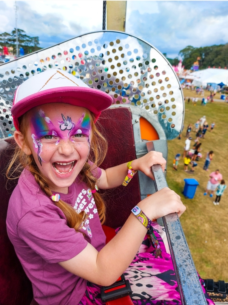 Excited to be on the ferris wheel above Camp Bestival