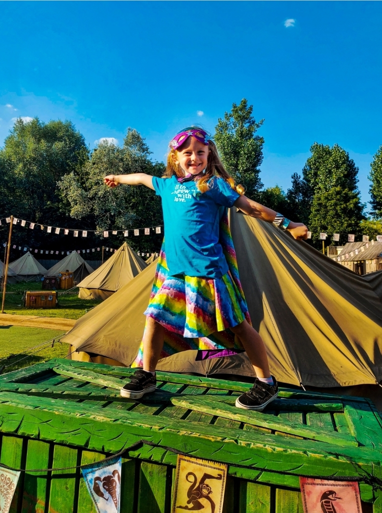 Excited little lady at the Chessington World of Adventures Explorer Glamping