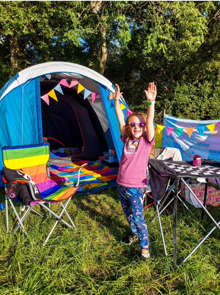 Excited to be all set up at Spring Wood Campsite