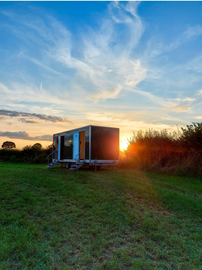 Sunsets look beautiful, even behind a toilet block!