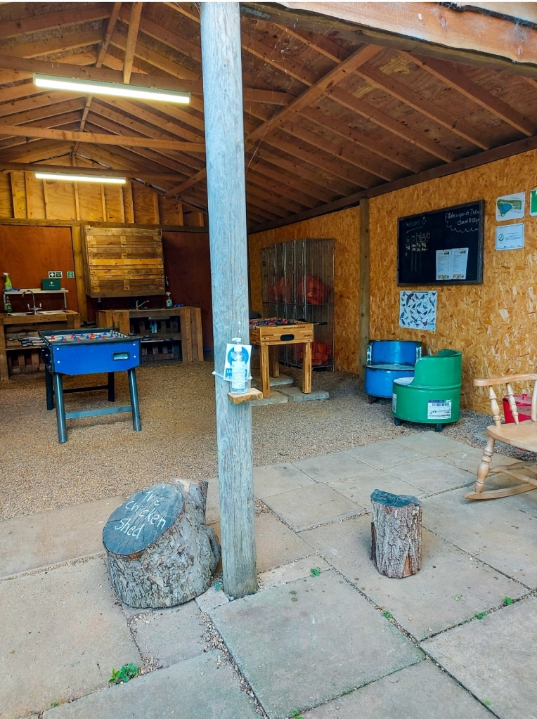 The Chicken Shed for washing up and table football